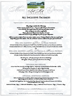 Bell Mill Mansion   All Inclusive Packages Menu - Thumbnail