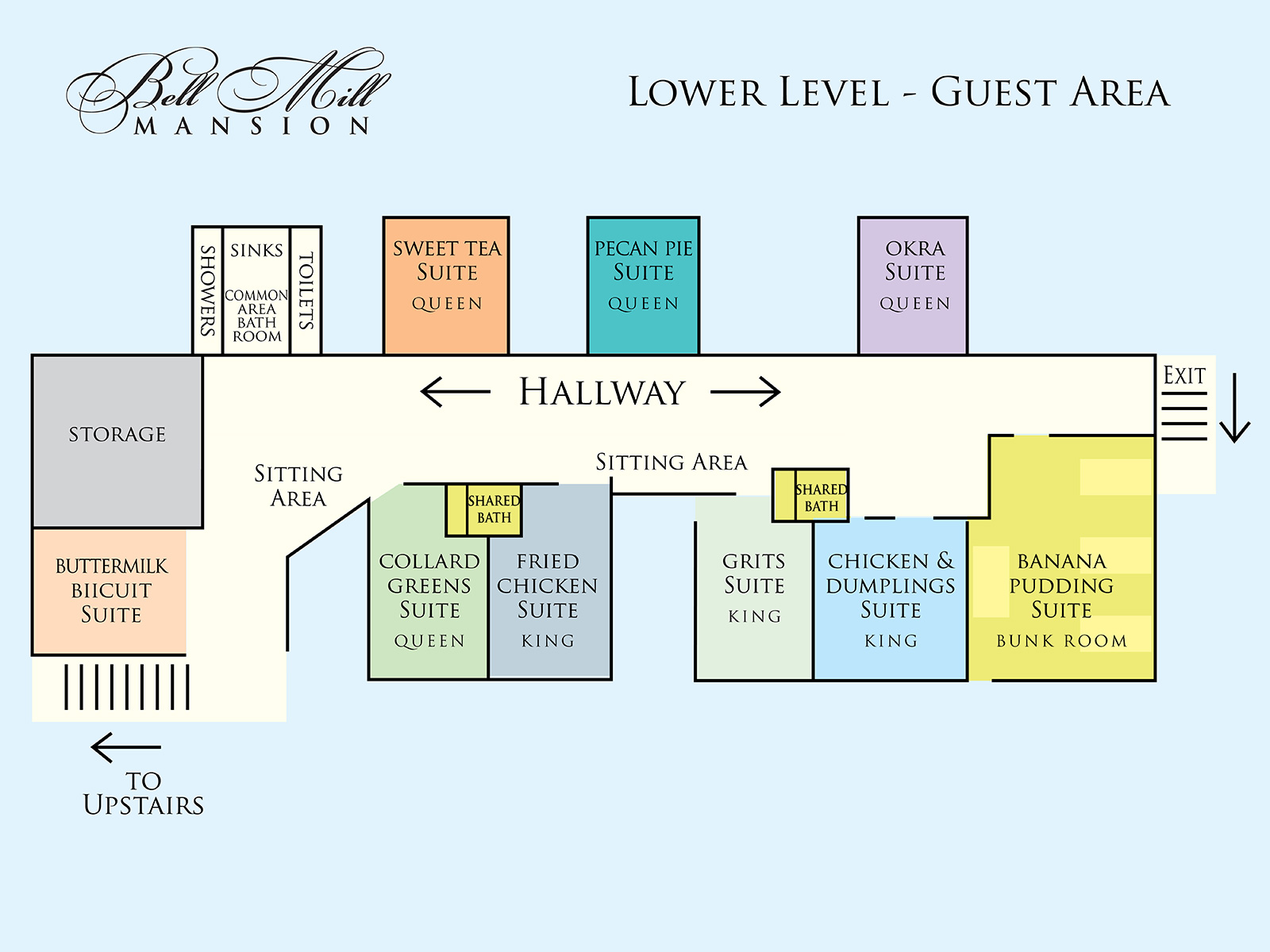 Bell Mill Mansion | Floor Plan - Lower Level
